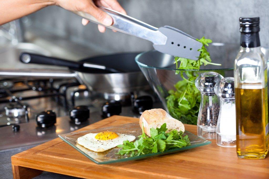 Salad and egg
