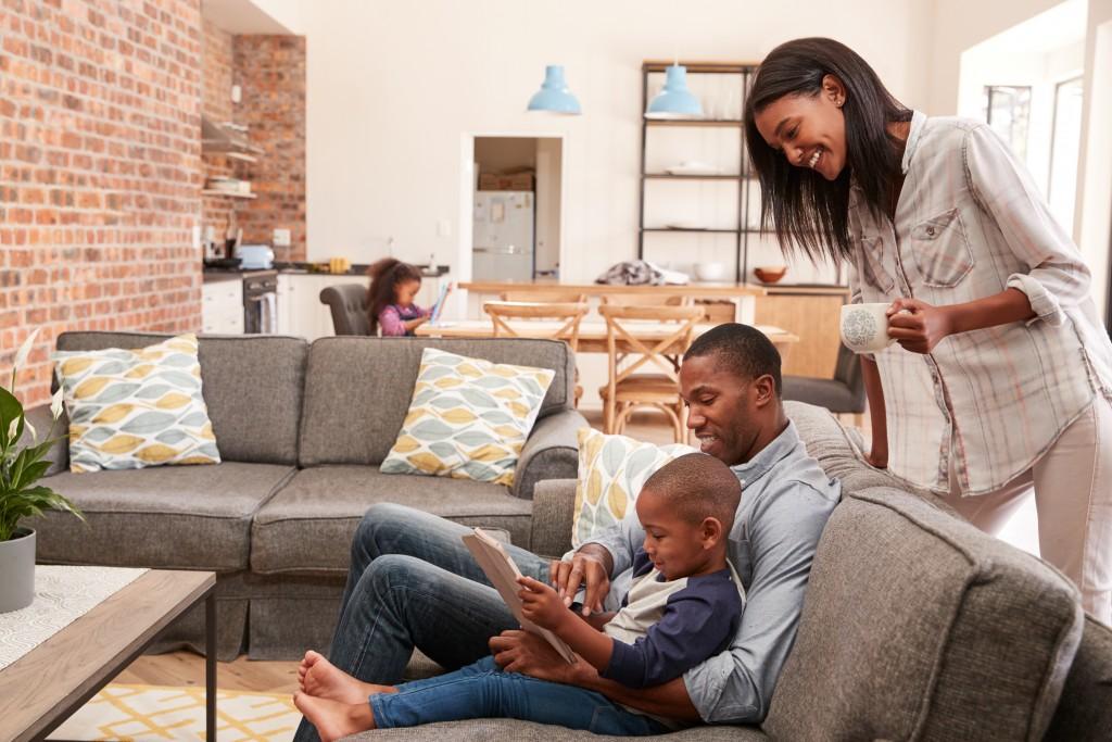 Family on sofa living room